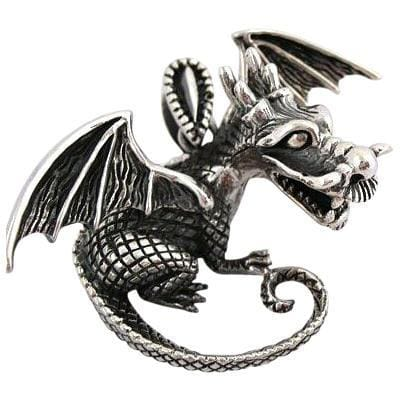 sterling silver dragon knight pendant