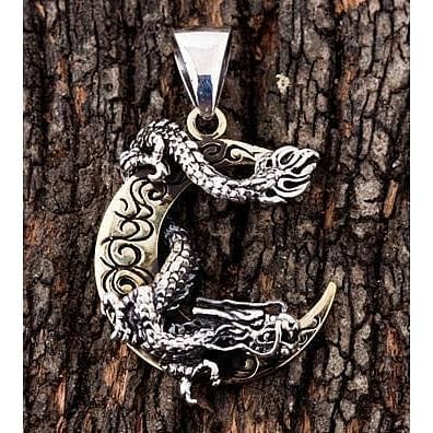 sterling silver Japanese dragon moon pendant