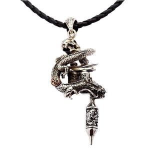 Sterling Silver Dragon Skull Tattoo Machine Gun Pendant Necklace