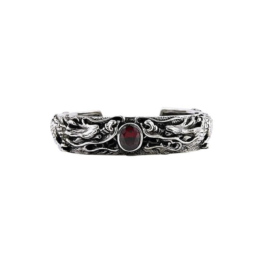 red garnet inlaid dragon men's sterling silver cuff bracelet