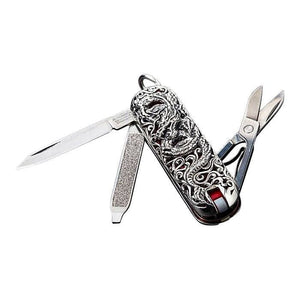 Handmade Dragon Silver Swiss Army Knife
