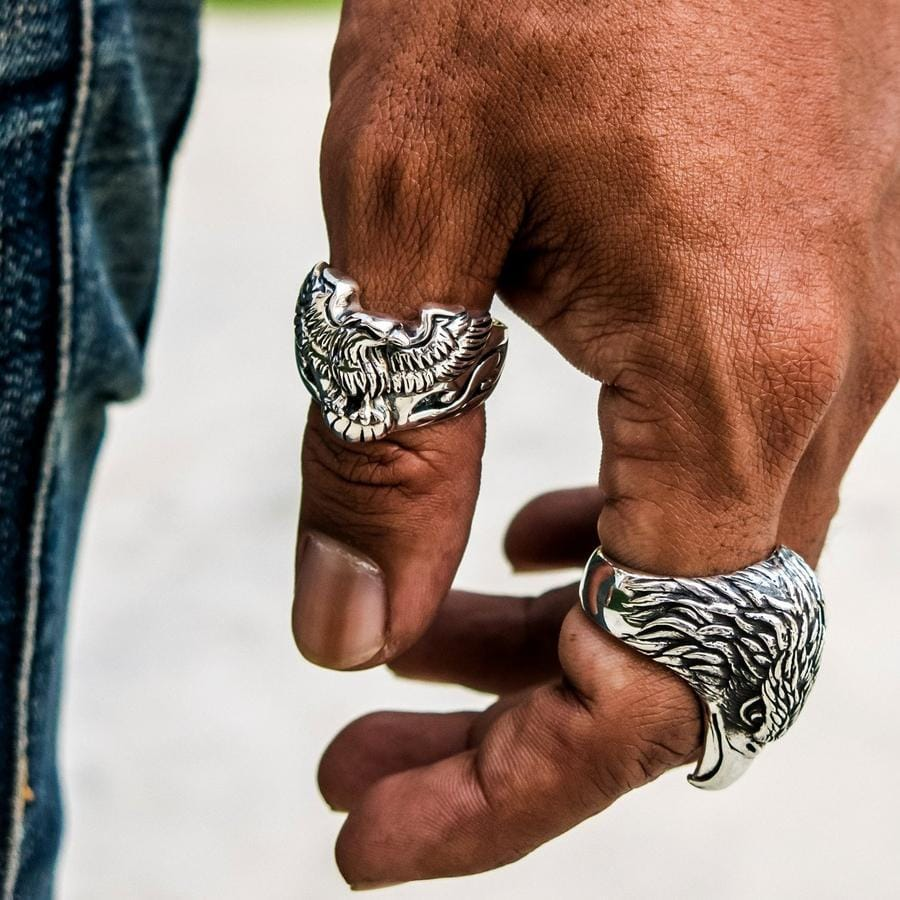 Sterling Silver Eagle Head Biker Ring