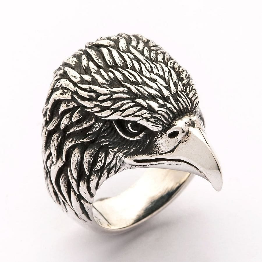 Eagle Head Sterling Silver Biker Ring Bikerringshop
