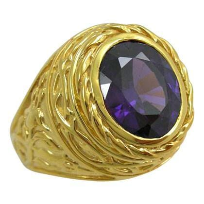 Easter lily yellow gold bishop ring