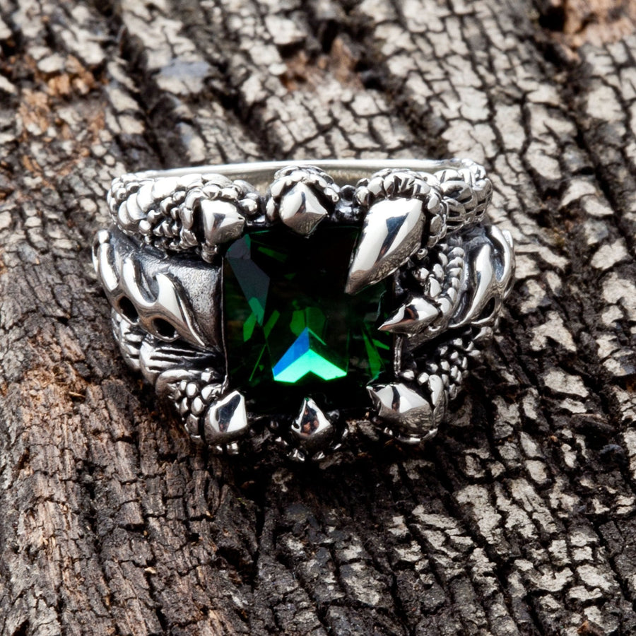 green stone mens ring
