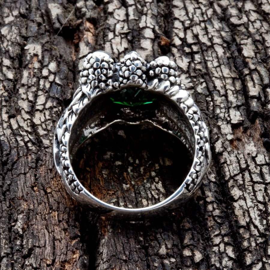 Emerald Silver Claw Mens Gothic Ring