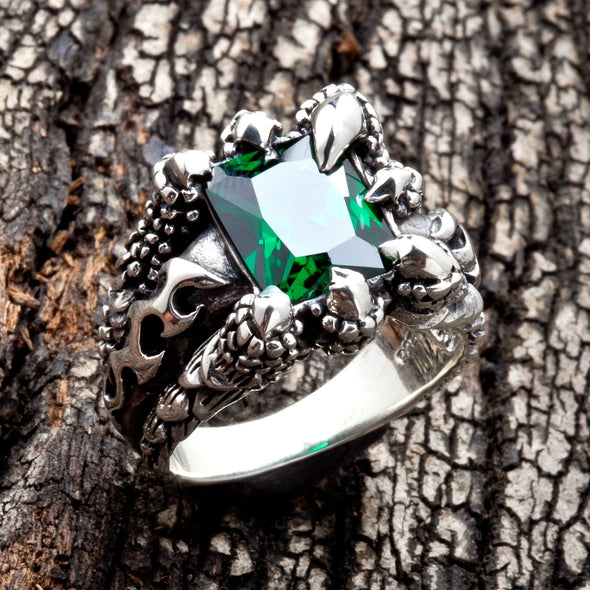 Emerald Claw Mens Gothic Ring