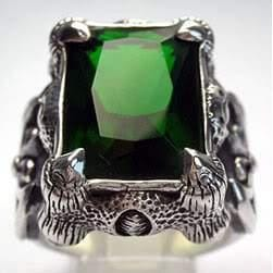 emerald claw men's ring