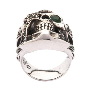Sterling Silver Emerald Pirate Skull Ring