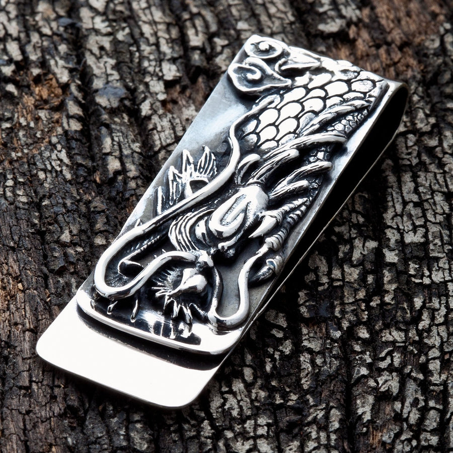 carved dragon silver money clip