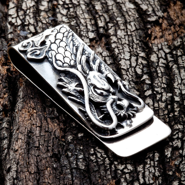 Engraved Dragon Silver Money Clip