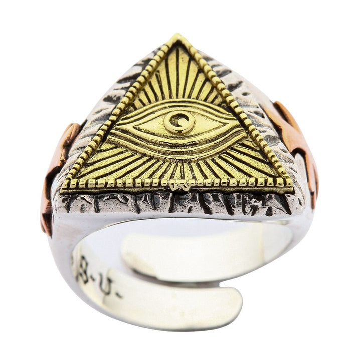 anello Eye of Providence in argento sterling