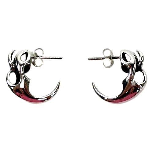 tribal fang silver earrings