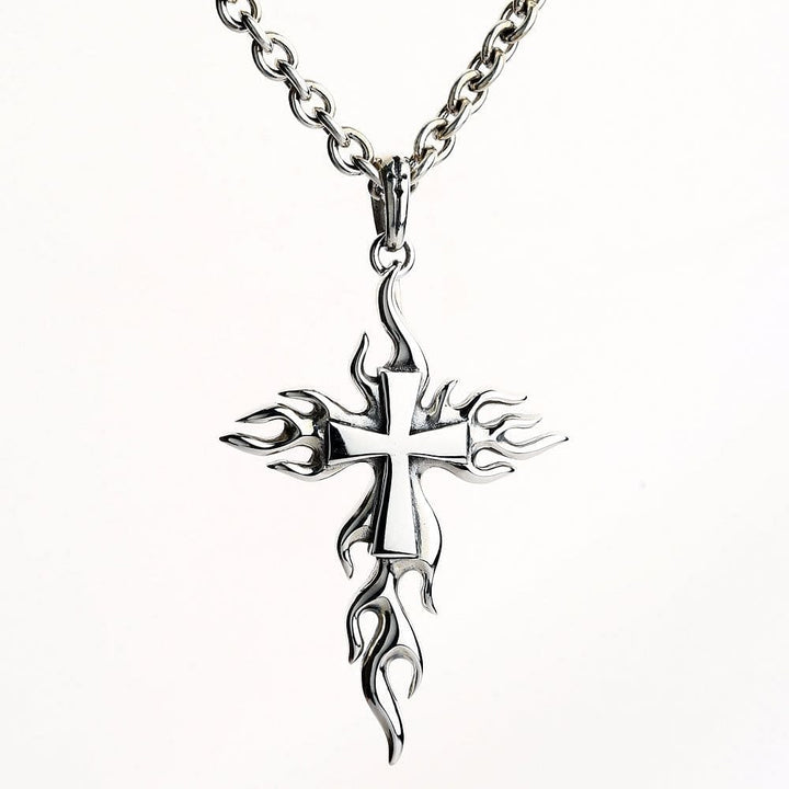 flame cross sterling silver biker pendant
