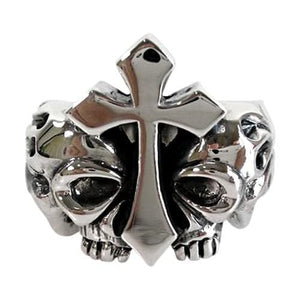 nagniningas na cross skull ring