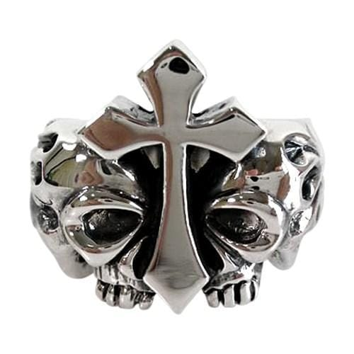 flaming cross skull ring