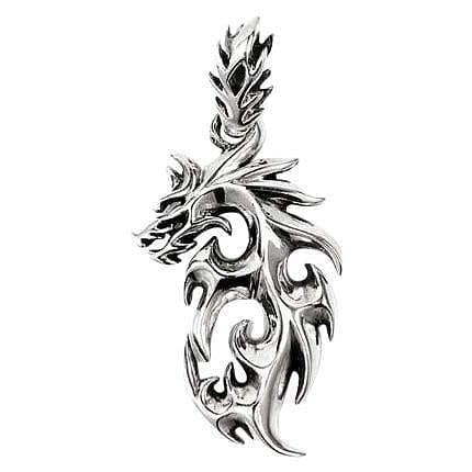 tattoo flaming dragon pendant
