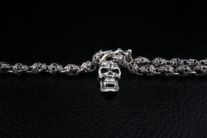 Flaming Skull Silver Necklace