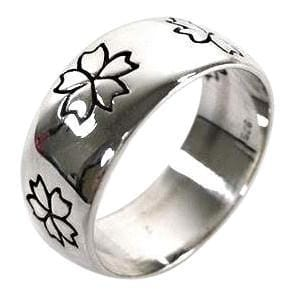 925 sterling silver flower band ring