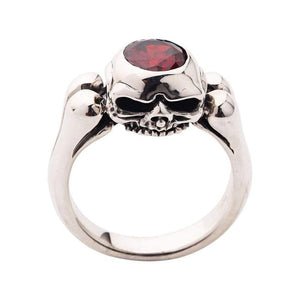 Garnet Sterling Silver Skull Wedding Cincin