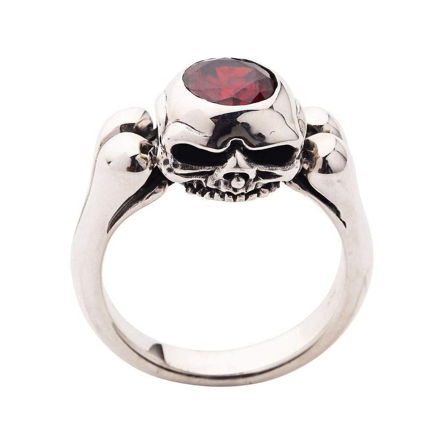 Garnet Sterling Silver Skull Wedding Rings