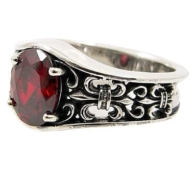 sterling silver garnet band ring