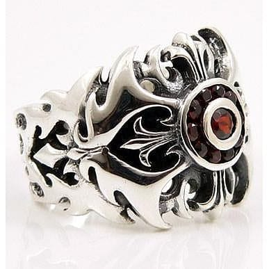 Silver Garnet Tribal Cross Ring