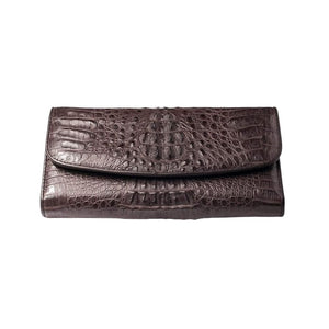 dark brown crocodile leather purse
