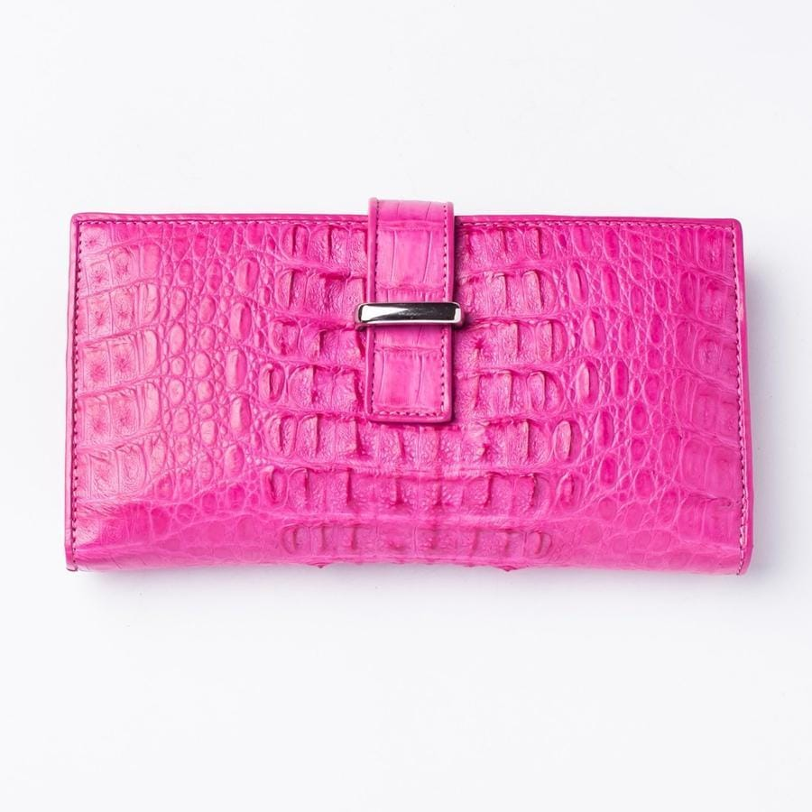 Genuine Rich Pink Crocodile Hornback Skin Long Wallet