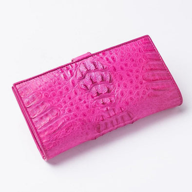 Genuine Rich Pink Crocodile Hornback Skin Long Wallet-Bikerringshop