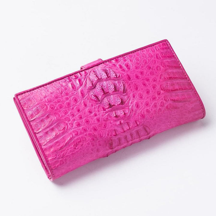 pink crocodile hornback leather long womens wallet