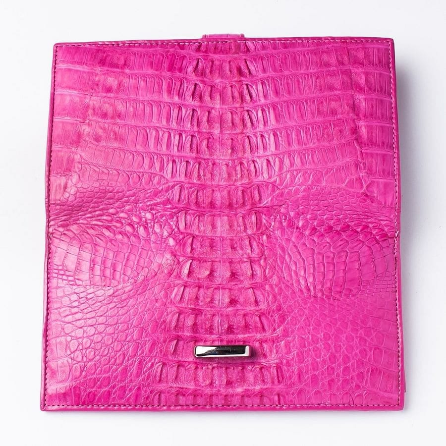 Genuine Rich Pink Crocodile Tail Skin Long Wallet