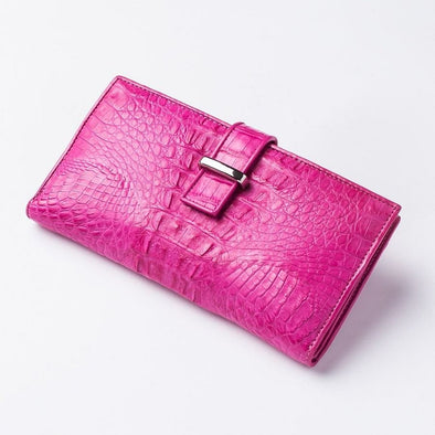 Genuine Rich Pink Crocodile Tail Skin Long Wallet-Bikerringshop