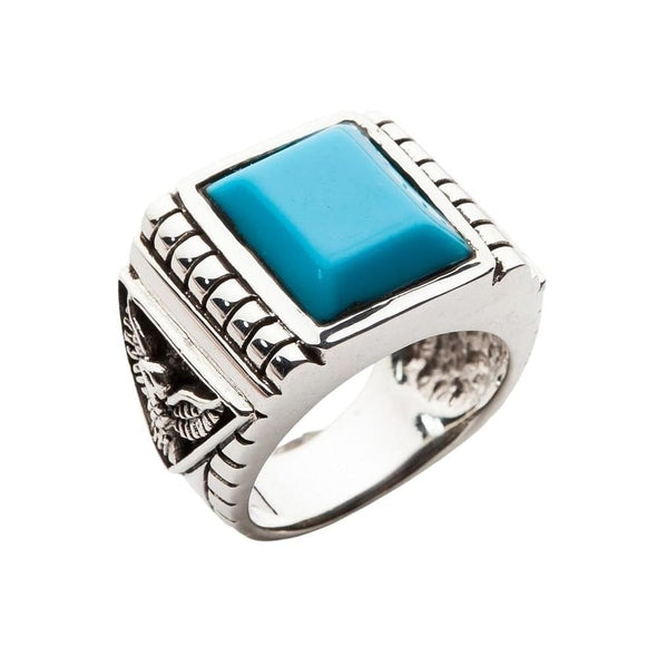 Genuine Turquoise Eagle Mens Ring