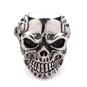 heavy skeleton skull ring