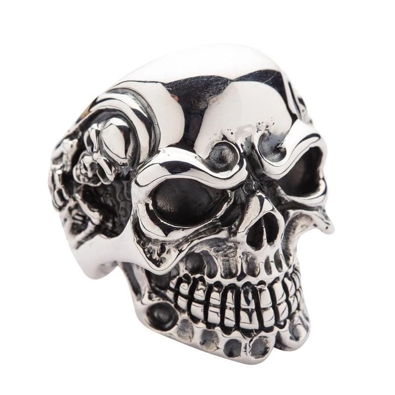 big silver skull men's ring