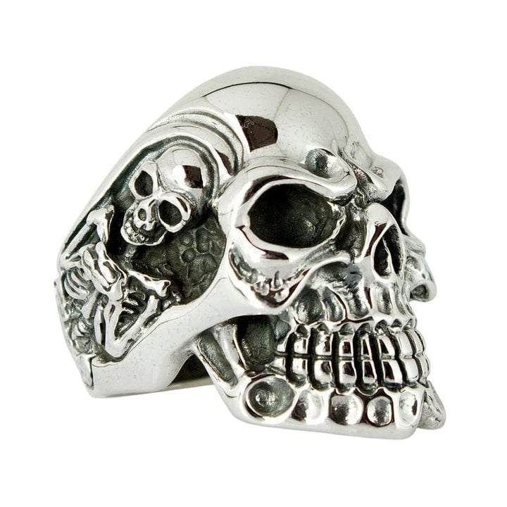 skelet kranium biker ring