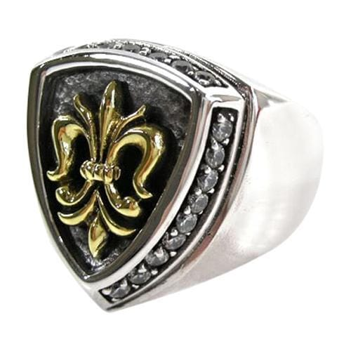 fleur de lis yellow gold men's ring