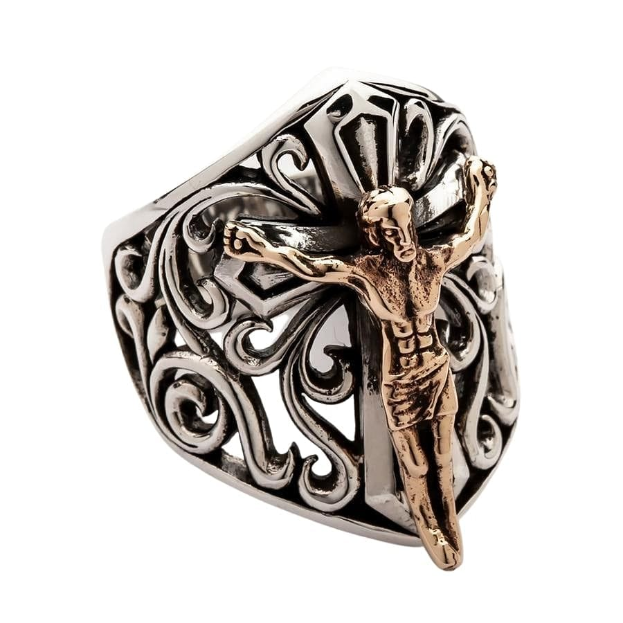 Gold Jesus Silver Mens Ring