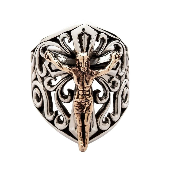 gold jesus men's ring