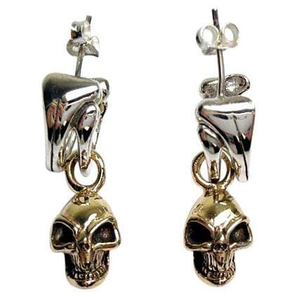 yellow gold skull earrings