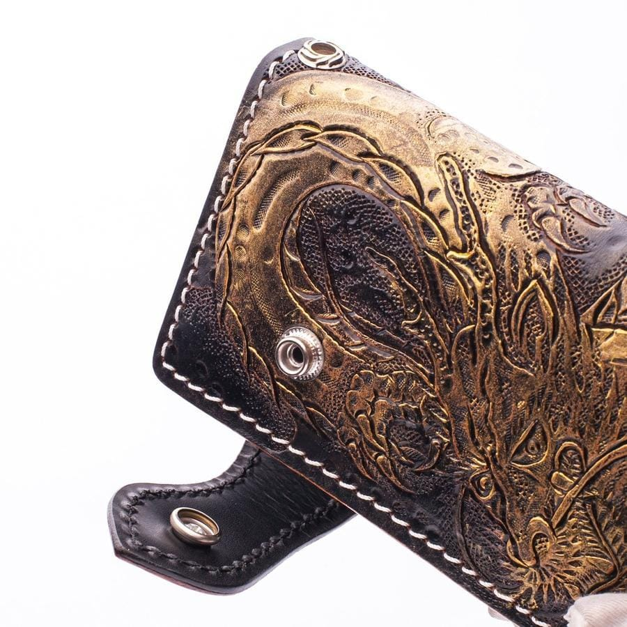 Golden Emperor Dragon Leather Biker Wallet