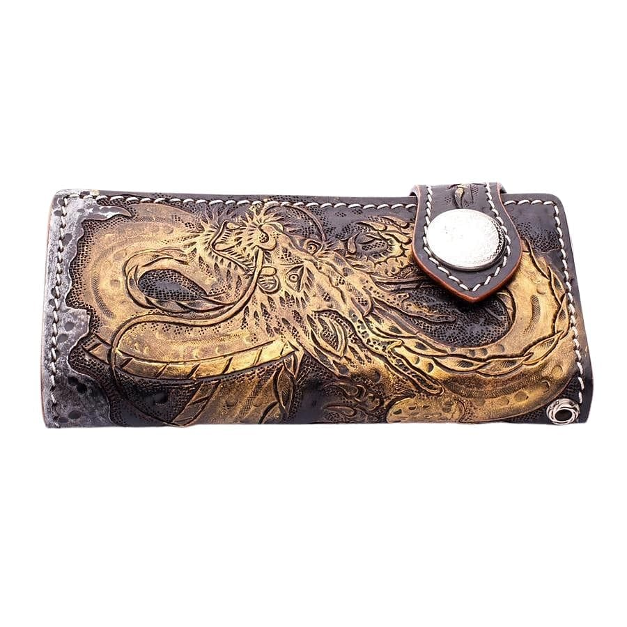 genuine cowhide leather big chain wallet