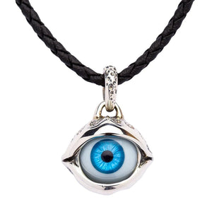 sterling silver blue evil eye pendant necklace