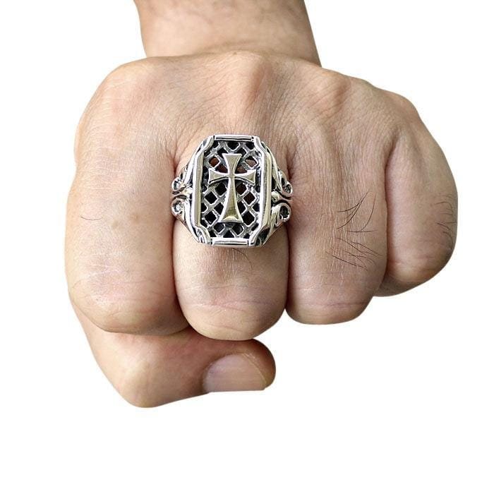 silver cross mens ring
