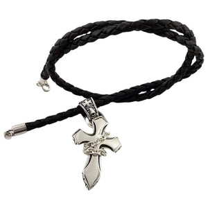 rock cross silver braided leather necklace