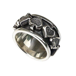 Silver Gothic Spade Spin Ring