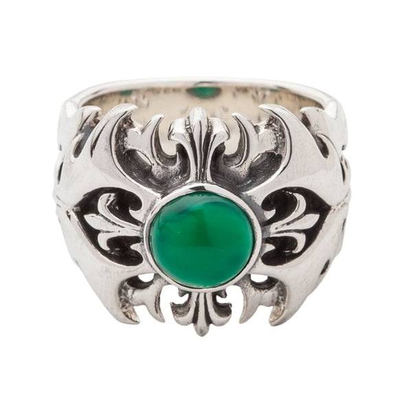 Green Agate Tribal Mens Ring