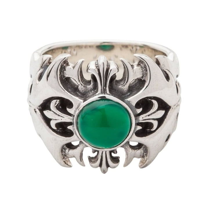 silver green agate mens ring