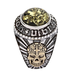Mexican Skull Ring - Green Amber